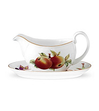 RRoyal Worcester Evesham Gold Sauce Boat and Stand