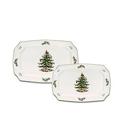 Spode® Christmas Tree Set of 2 Rectangle Platters