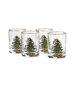 Spode® Christmas Tree Set of 4 Double Old Fashioned Glasses