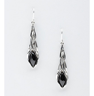 Hagit Gorali Sterling Silver Stone Drop Earrings - Black