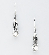 Hagit Gorali Sterling Silver Scroll Elongated Drop Earrings