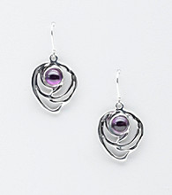 Hagit Gorali Sterling Silver Round Swirl Accent Drop Earrings
