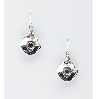 Hagit Gorali Sterling Silver Liquid Round Petal Leaf Earrings - Amethyst