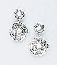 Hagit Gorali Sterling Silver Liquid Scroll Flower Earrings