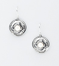 Hagit Gorali Sterling Silver Button Drop Swirl Design Earrings
