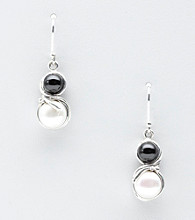 Hagit Gorali Sterling Silver Onyx Bead Pearl Earrings
