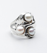 Hagit Gorali Sterling Triple Pearl Swirl Ring