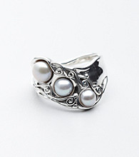 Hagit Gorali Sterling Silver Dramatic Swirls And Pearls Wideband Ring