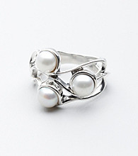 Hagit Gorali Sterling Silver Triple Pearl Ring
