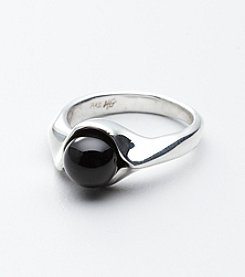 Hagit Gorali Sterling Silver Onyx Bead Ring