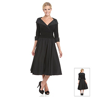 Jessica Howard® Black Shawl Collar Ruched A-line Dress
