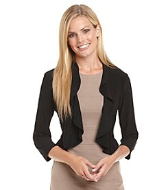 R & M Richards® Black Ruffled Openfront Shrug