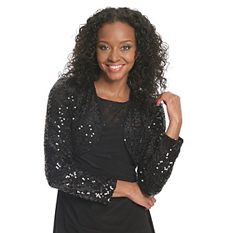 R & M Richards® Black Openfront Sequin Shrug