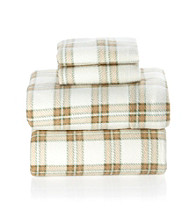 LivingQuarters Antique Plaid Fleece Sheet Set