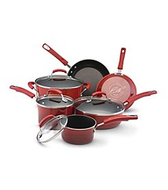 Rachael Ray® 10-pc. Red Porcelain Hard Enamel II Nonstick Cookware Set + $20 Cash Back and FREE Gift see offer details