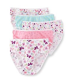 Jockey® Girls' 6-16 White/Blue/Pink 5-pk. Rainbows and Butterfly Hipster Panties
