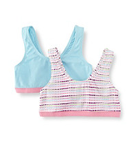 Jockey® Girls' 6-16 Purple/Pink/Blue 2-pk. Multi Dot Sport Crop Top