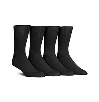 Calvin Klein Men's Black 4-Pack Ribbed Socks