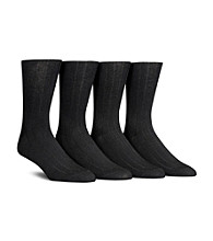 Calvin Klein Men's Black 4-Pack Ribbed Socks