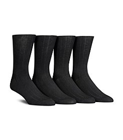 Calvin Klein Men's 4-Pack Black Ribbed Socks