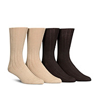 Calvin Klein Men's 4-Pack Ribbed Assorted Tan Socks