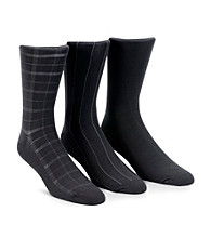 Calvin Klein Men's 3-Pack Black Windowpane Socks