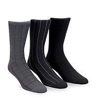 Calvin Klein Men's 3-Pack Assorted Gray Windowpane Socks