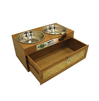 """Right Height Bamboo Bistro 8"""" Elevated Feeding Station with Drawer"""