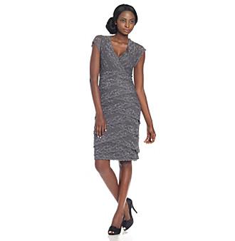 Marina Gunmetal Beaded Stretch Lace Short Dress