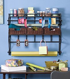 Holly & Martin™ Olivia Black Wall Mount Craft Storage Rack with Baskets
