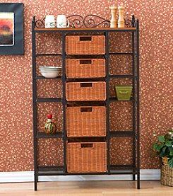 Southern Enterprises Manilla 5-Drawer Rattan Baker's Rack