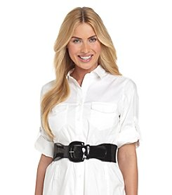 Lauren Ralph Lauren Stretch Patent Tab Belt - Black