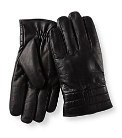 Calvin Klein Men's Black Quilted Cuff Gloves