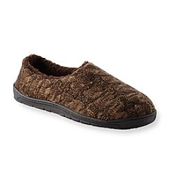 MUK LUKS Men's Sherpa Lined Marled Cable Slippers