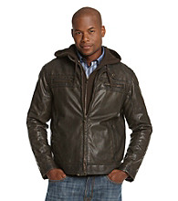 R&O Men's Brown Faux Leather Hooded Jacket