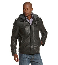 R&O Men's Black Faux Leather Hooded Jacket