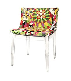 Baxton Studios Fiore Floral Patterned Acrylic Accent Chair