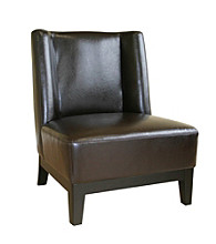 Baxton Studios Dark Brown Cloten Leather Armless Accent Chair