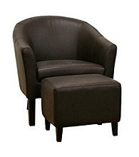 Baxton Studios Koala Bonded Dark Brown Leather Accent Chair and Ottoman