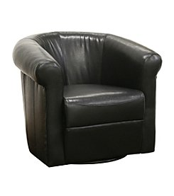 Baxton Studios Julian Black Faux Leather Chair with 360 Degree Swivel