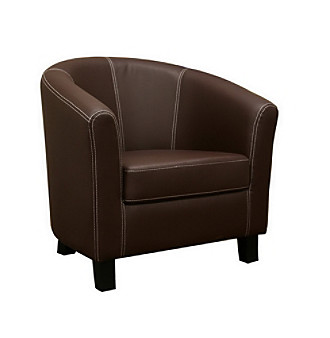Baxton Studios Elijah Dark Brown Faux Leather Chair