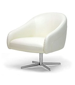 Baxton Studios White Balmorale Leather Swivel Chair