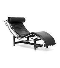 Baxton Studios Black Chaise Le Corbusier Leather Chair