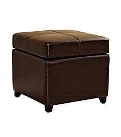Baxton Studios Biondello Square Leather Storage Ottoman