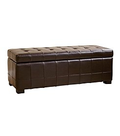 Baxton Studios Parolles Tufted Leather Storage Ottoman Bench