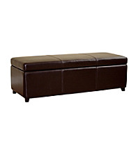 Baxton Studios Dark Brown Philostrate Leather Storage Ottoman Bench