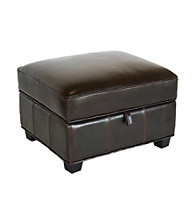 Baxton Studios Dark Brown Benvolio Leather Storage Ottoman