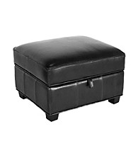 Baxton Studios Black Agustus Leather Storage Ottoman
