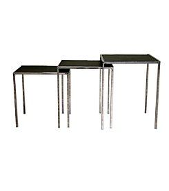 Baxton Studios Black Leather Nesting Tables