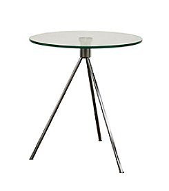 Baxton Studios Triple Leg Round Glass Top End Table